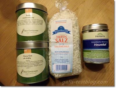 Gewürze und Salzmühlensalz