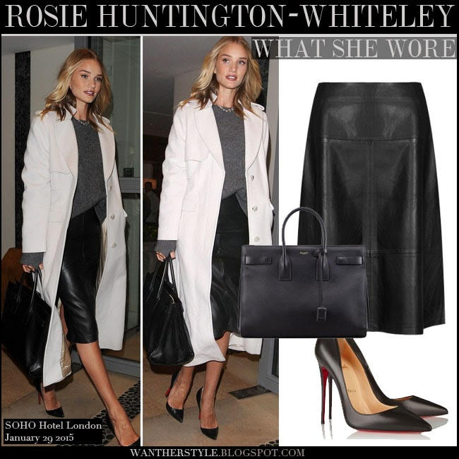 Rosie Huntington-Whiteley in white long coat, grey sweater, black leather Autograph skirt with black pumps So Kate and black tote Saint Laurent want her style january 29