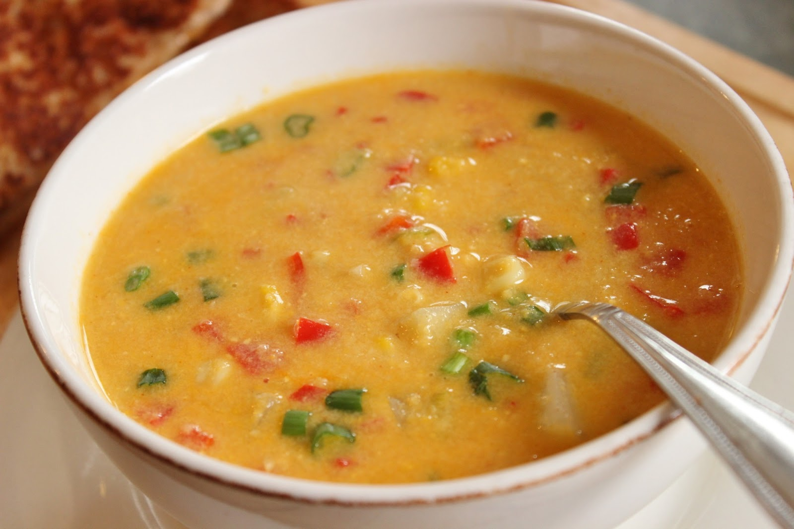 low fat creamy corn chowder with chunks of potato and diced red bell ...