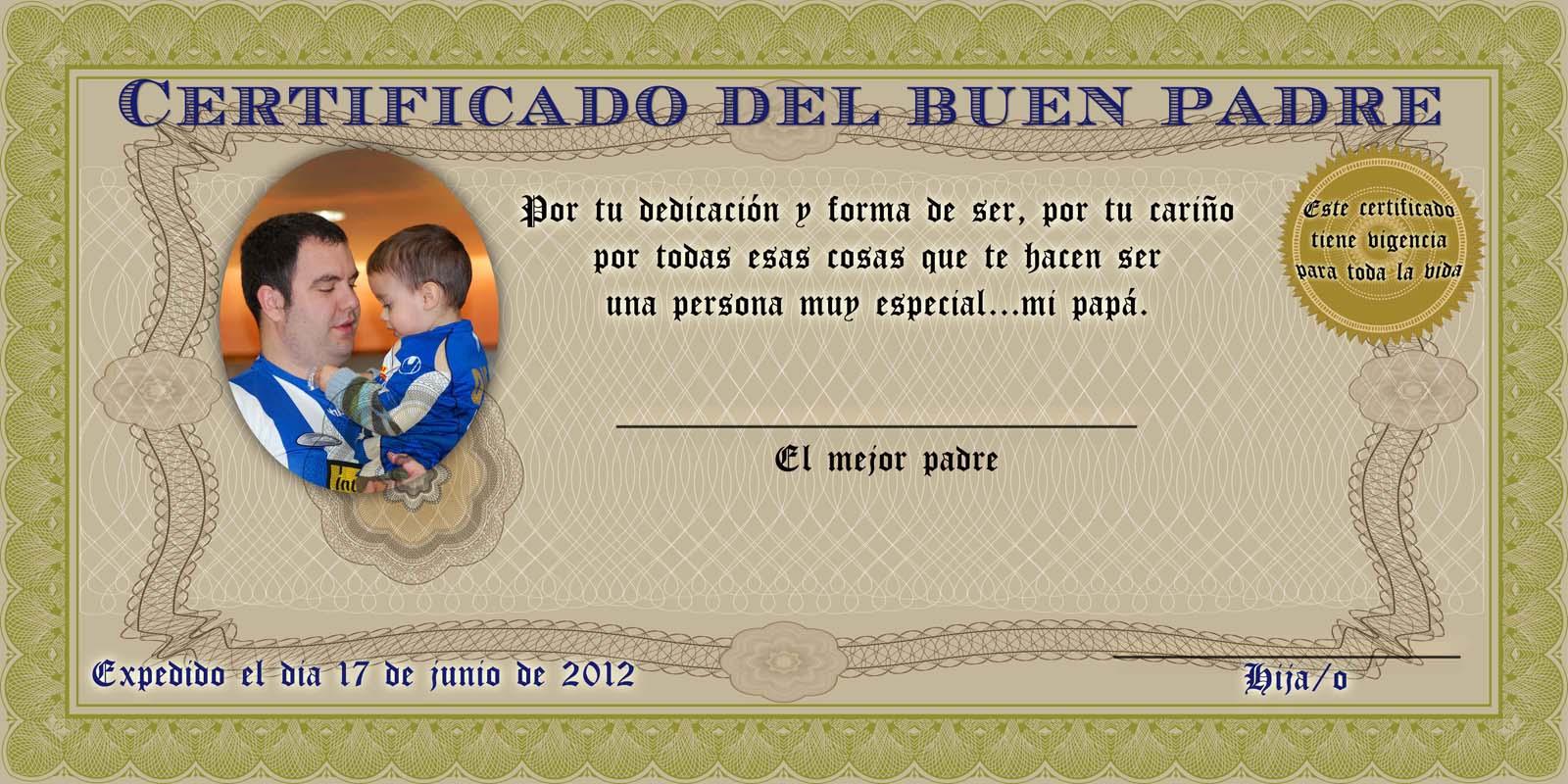 Certificado para el dia del padre
