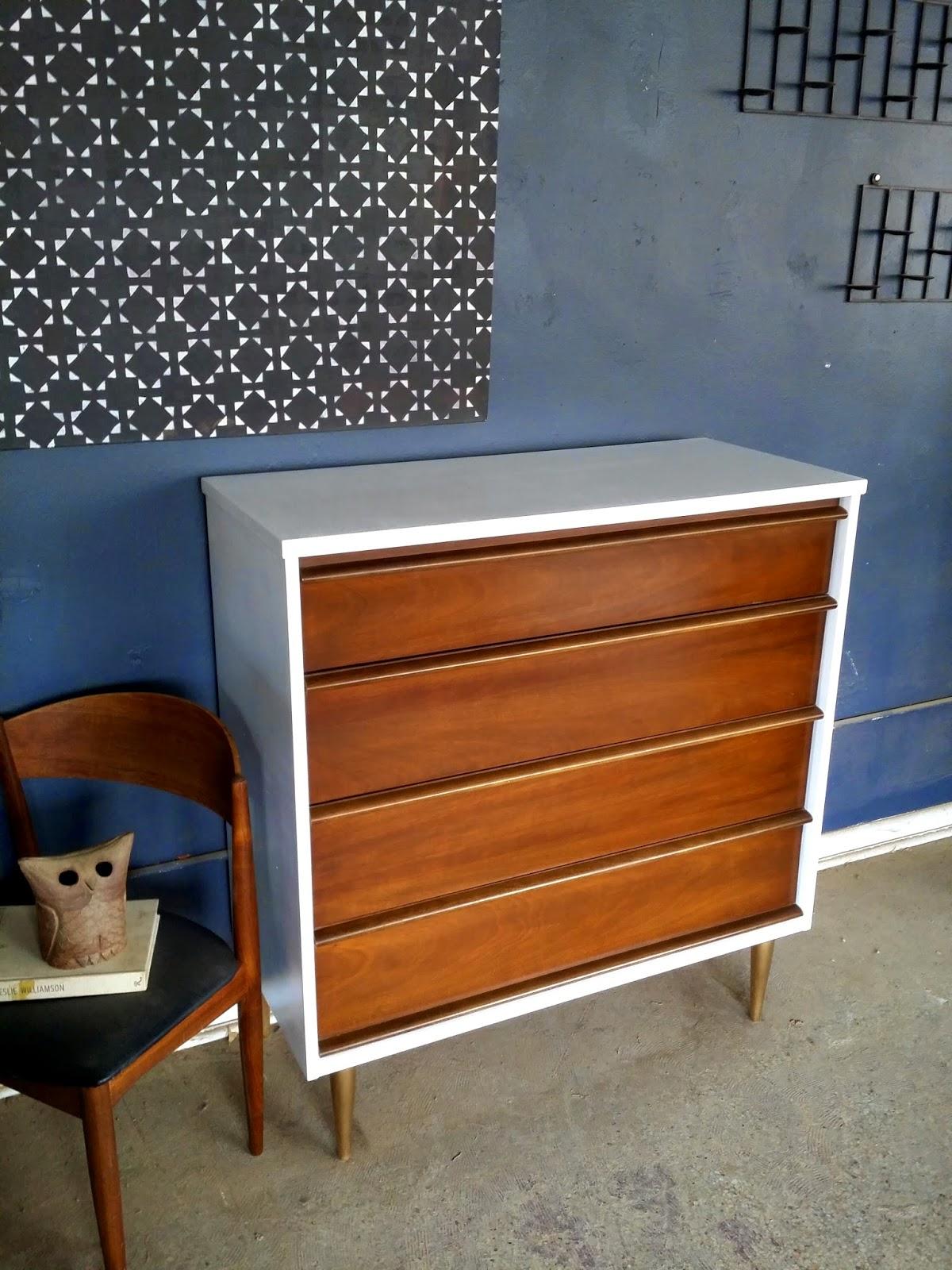 White Wood Mid Century Highboy Dresser