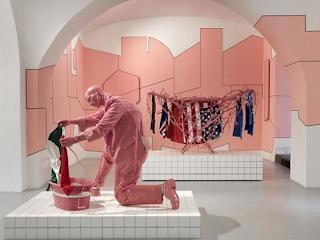gum sculpture man washing flag