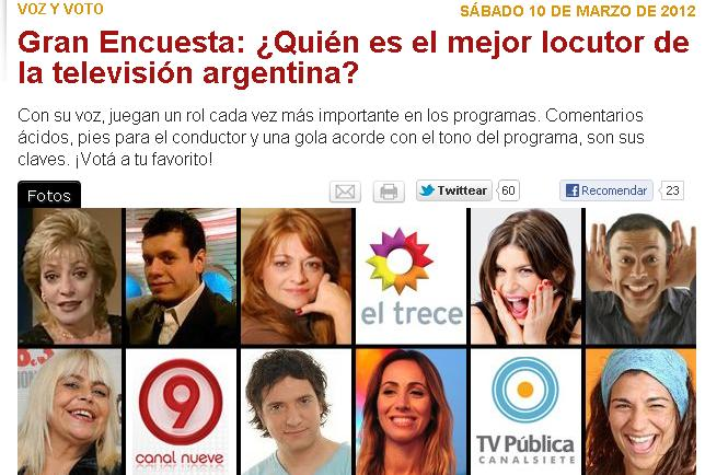 Gran encuesta qui n es el mejor locutor de la televisi n for Ultimas noticias de la farandula argentina