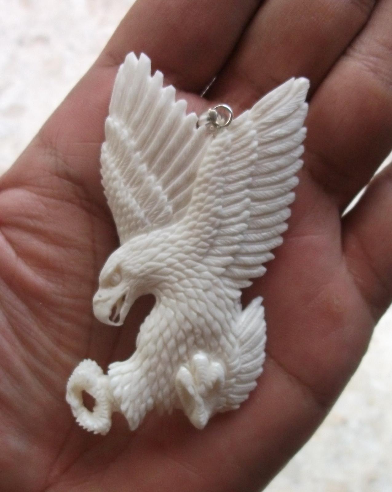 hand carved landing eagle bone pendants