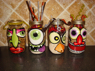 halloween crafts for kids: monster cookies in a jar