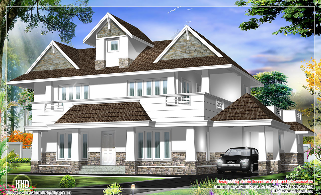 Western model 4 bedroom house design kerala house design for Model house design