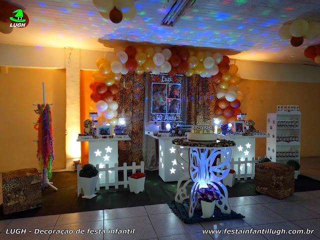 """Onça (Oncinha) - tema da """"Oncinha"""" em decoração provençal simples para festa de aniversário infantil de meninas."""