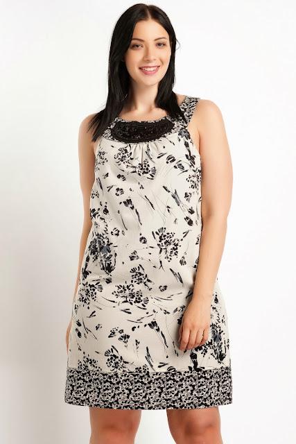 çiçekli büyük beden elbise koton 2014