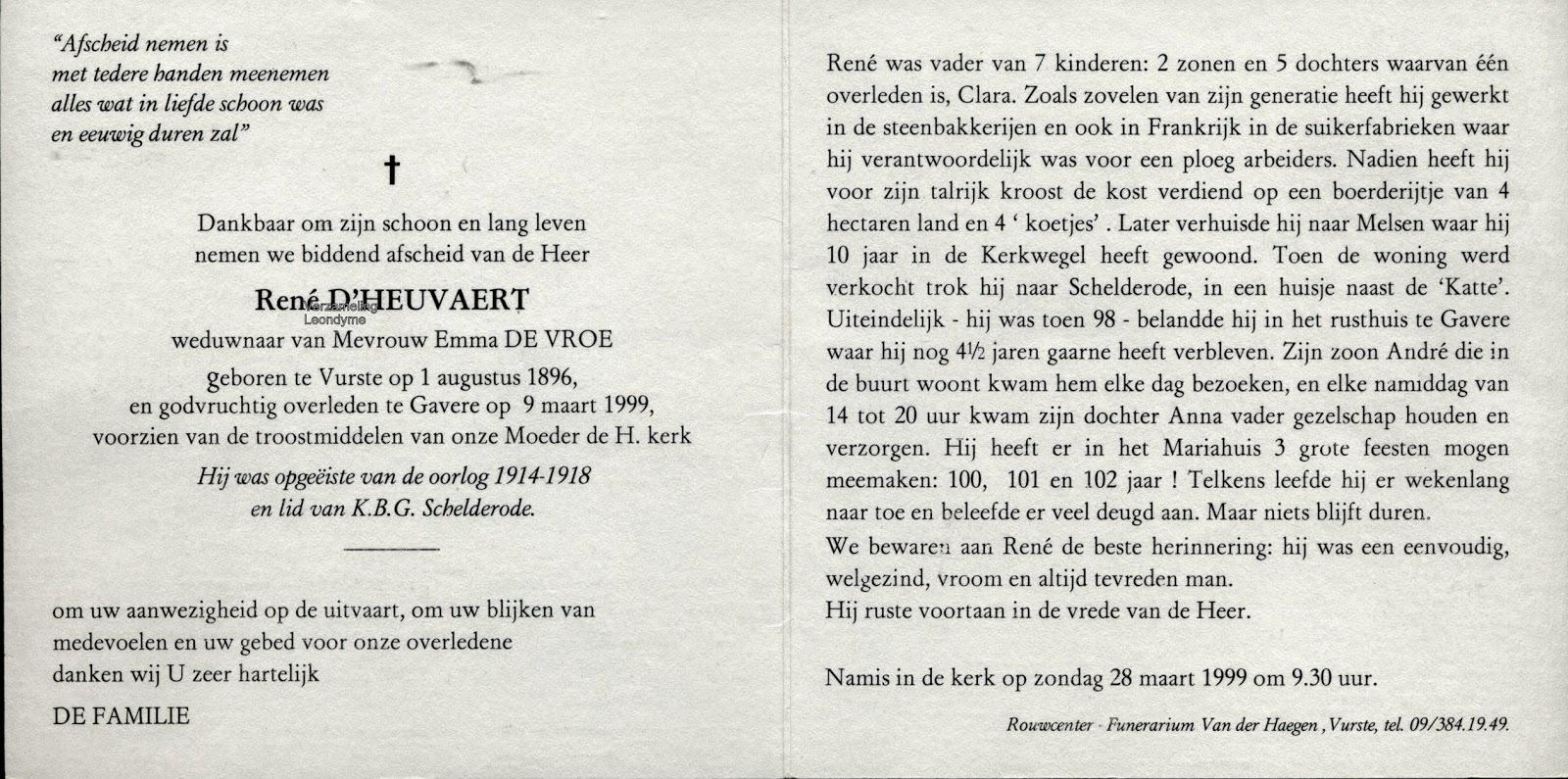 Bidprentje, René D'Heuvaert. Verzameling Leondyme