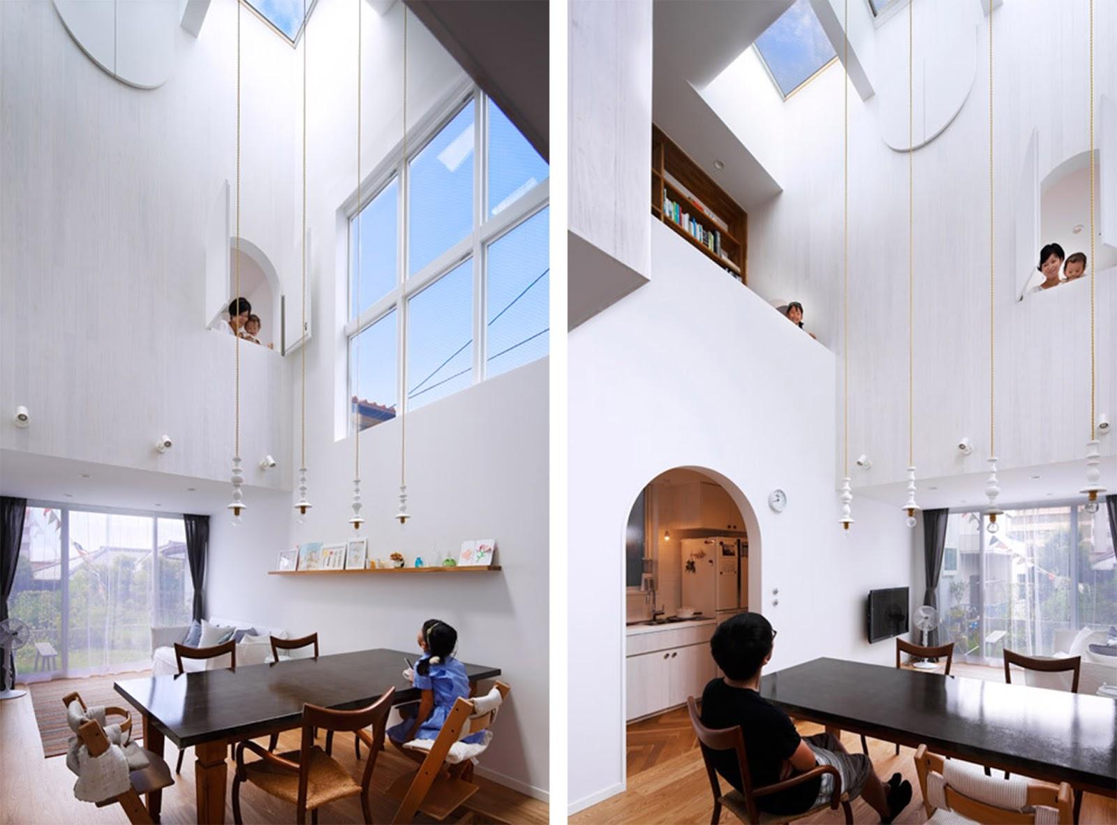 Tama plaza house con porte e finestre ad arco in yokohama for Tipi di materiali di raccordo casa