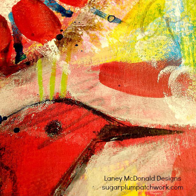 art journal detail of red bird
