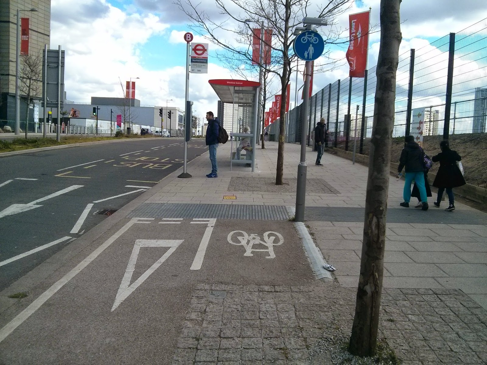 The Cycle Track Gives Way To Both People Who Are Already Crossing From Main Entrance Of Olympic Park Get Westfield And Stratford Station
