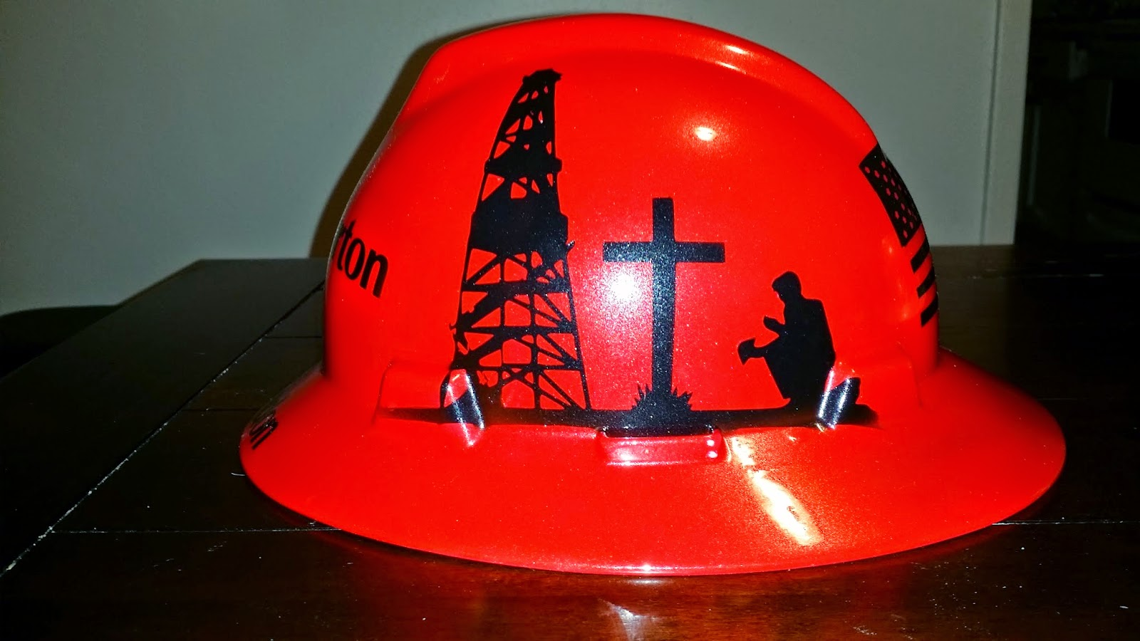 Custom Red Hard Hat With Praying Roughneck