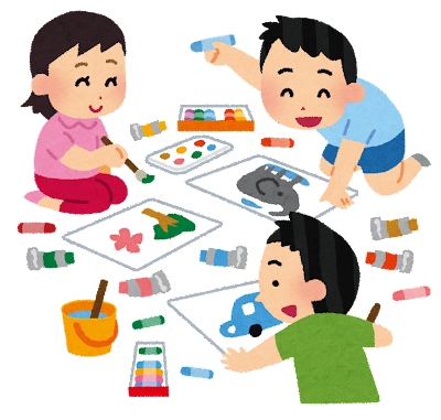 お絵描きをしている子供達のイラスト