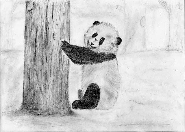 Panda - desenho com árvore