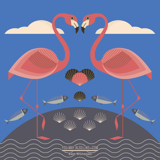 Flamingo illustration by Kate Whiteman, symmetry, graphic illustration