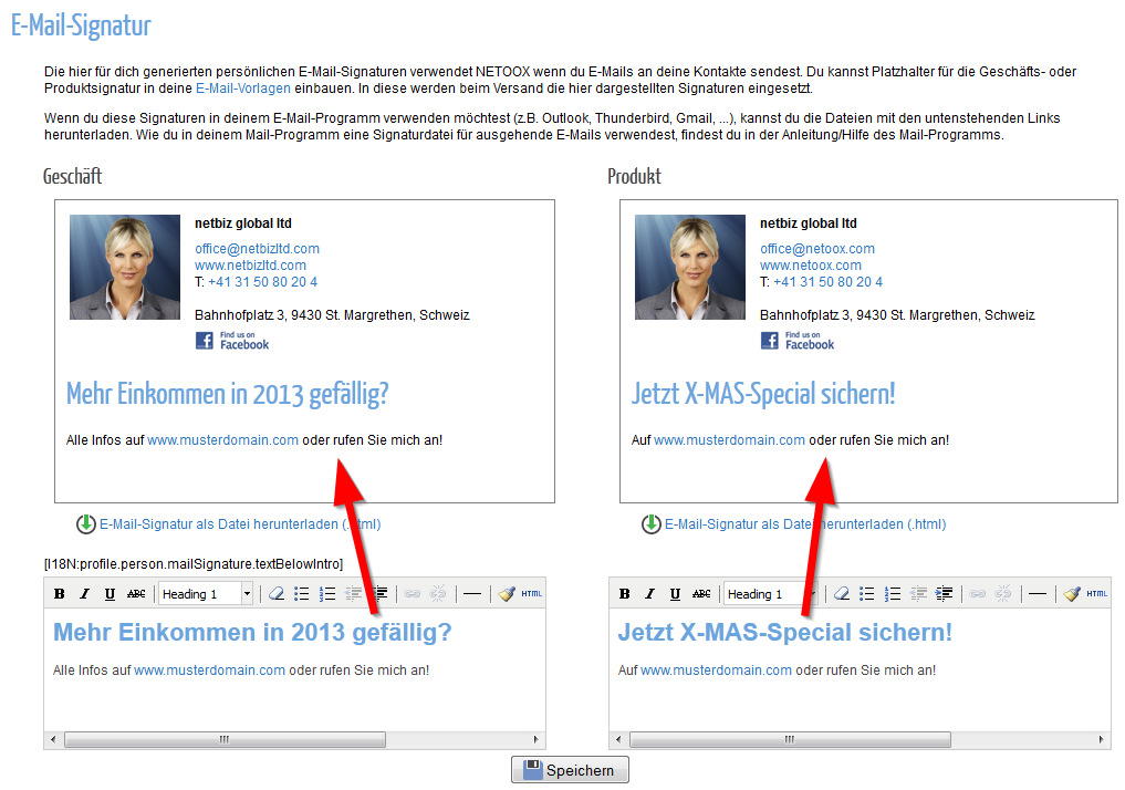how to add contact information in email signature