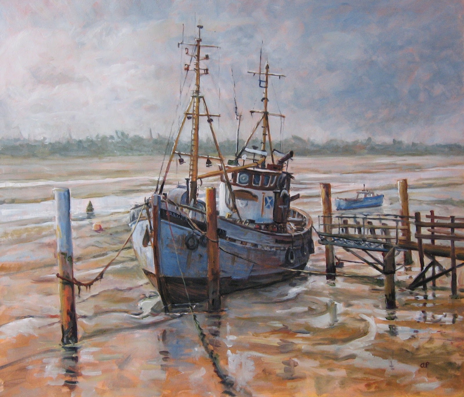 Anne plummer oil painting fishing boat off heybridge basin for Fishing boat painting