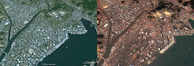 The Japanese town of Kesennuma before and after the tsunami