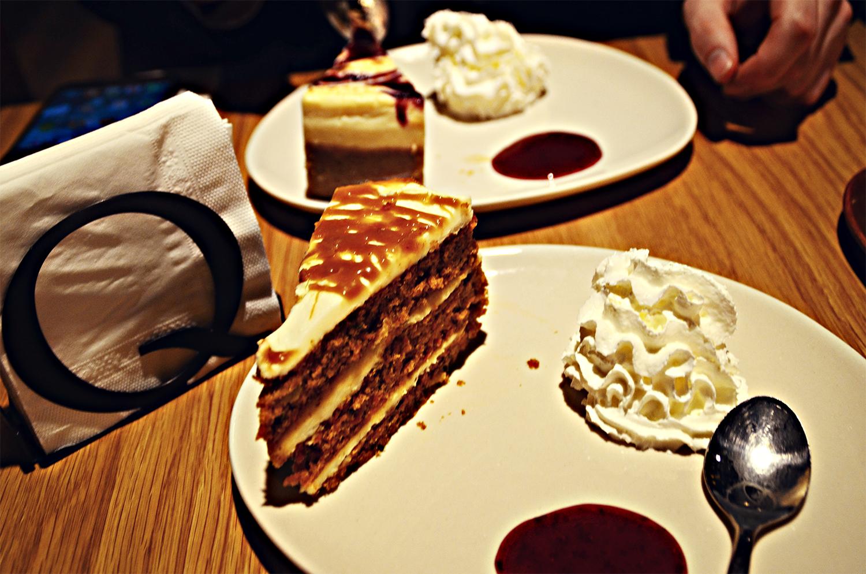 Chocolate caramel carrot cake, cream, Mas Q Menos Deserts Menu Review