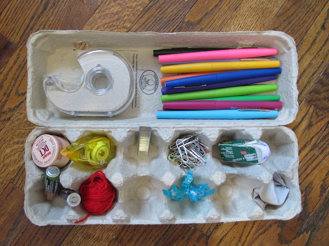 [egg carton] desk drawer organizer