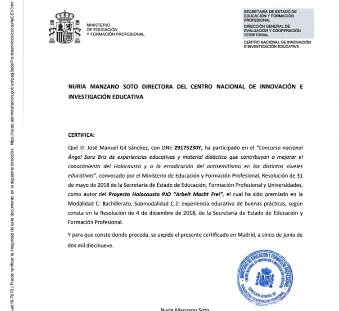 """PREMIO NACIONAL """"ÁNGEL SANZ BRIZ"""" DEL MINISTERIO DE EDUCACIÓN 2018"""