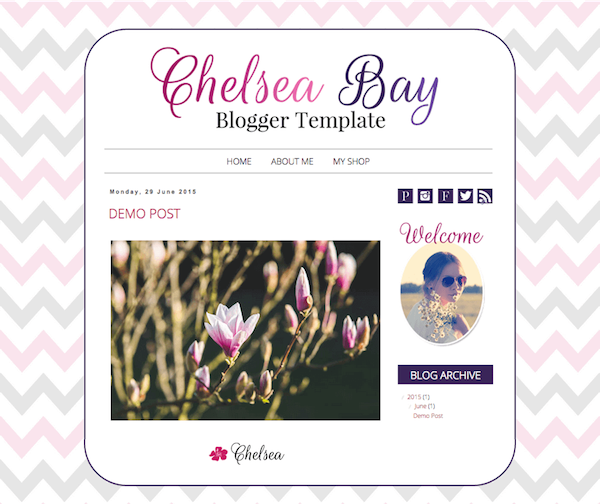 Premade Blogger Design by Barbara Leyne Pink and Gray Chevrons, Deep Purple
