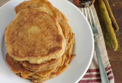 locavore cattail pancakes with fork and syrup