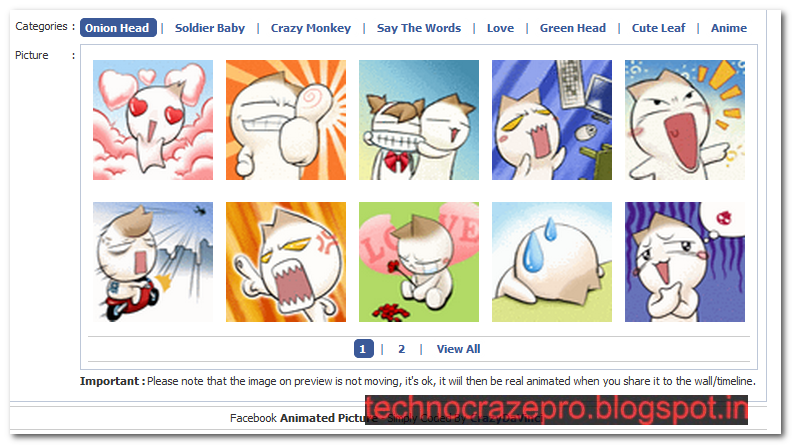 How to put Animated Picture in Facebook Status