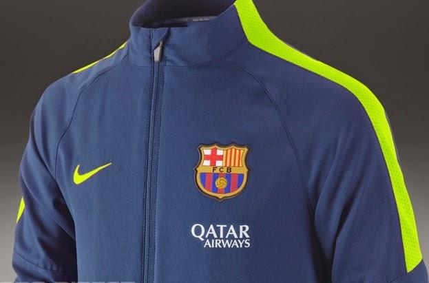 Jaket Barcelona Biru List Hijau Official Musim 14-15