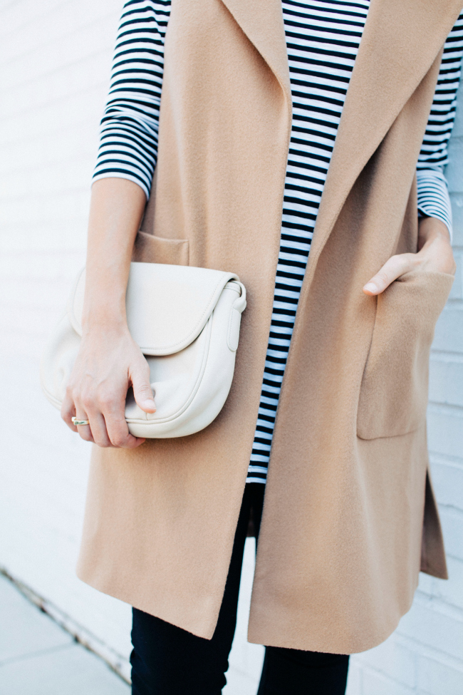 Camel vest, striped tee