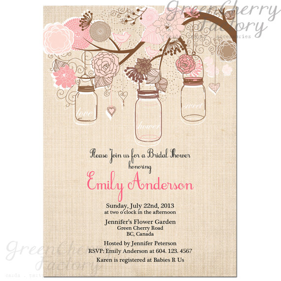Mason Jar Bridal Shower Invitation from Etsy