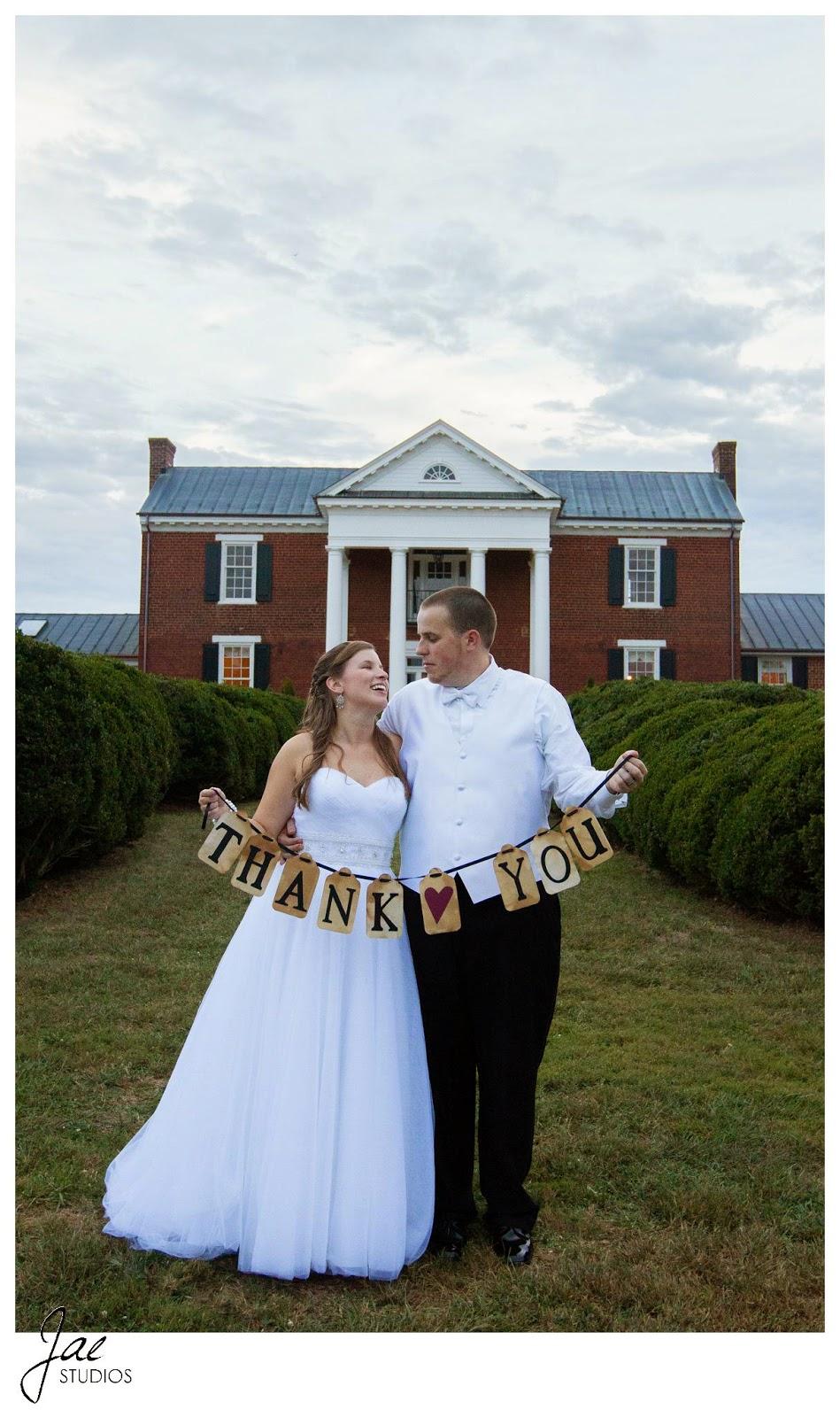 Jonathan and Julie, Bird cage, West Manor Estate, Wedding, Lynchburg, Virginia, Jae Studios, thank you sign, bride, groom, wedding dress, tuxedo, grass, end