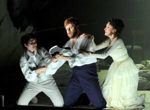 Daniela Lehner (Idamante), David Danholt (Idomeneo) & Amy Freston (Ilia), Idomeneo - Grange Park Opera 2012 (Photography: Alastair Muir)