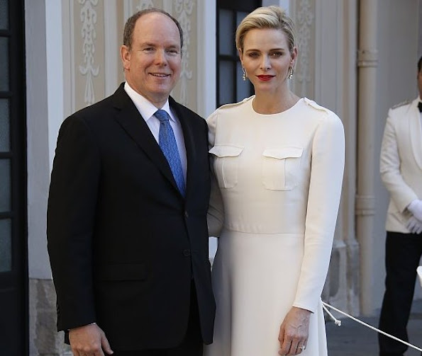 Prince Albert of Monaco and Princess Charlene pose on the sideline of the 55th Monte-Carlo Television Festival on June 17, 2015, in Monaco.