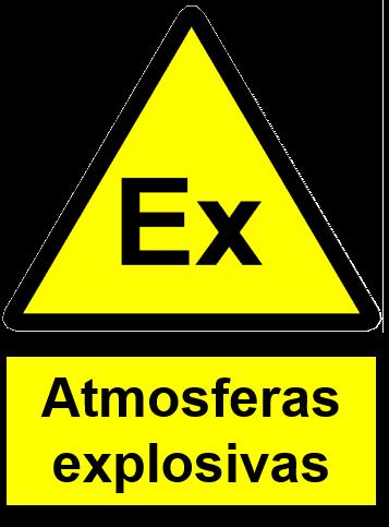 Placa de sinalização de segurança de áreas classificadas contendo atmosferas explosivas