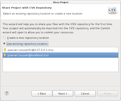 choosing configured CVS repository