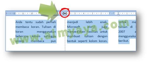 Gambar: Cara mudah membuat kolom seperti tulisan koran di Microsoft Word 2007