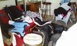 clothes before organizing with KonMari method