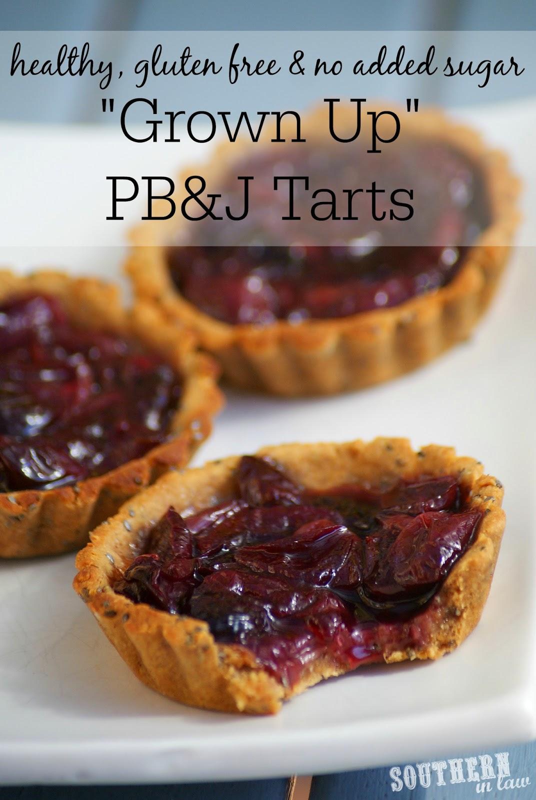 Grown Up Healthy PB&J Tarts Recipe - gluten free, refined sugar free, clean eating friendly, healthy, low fat