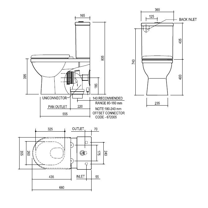 Modecor Toilet Suites Fowler Newport Cube Wall Faced