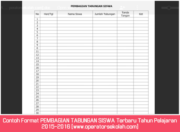Contoh Format PEMBAGIAN TABUNGAN SISWA Terbaru Tahun Pelajaran 2015-2016 [www.operatorsekolah.com]