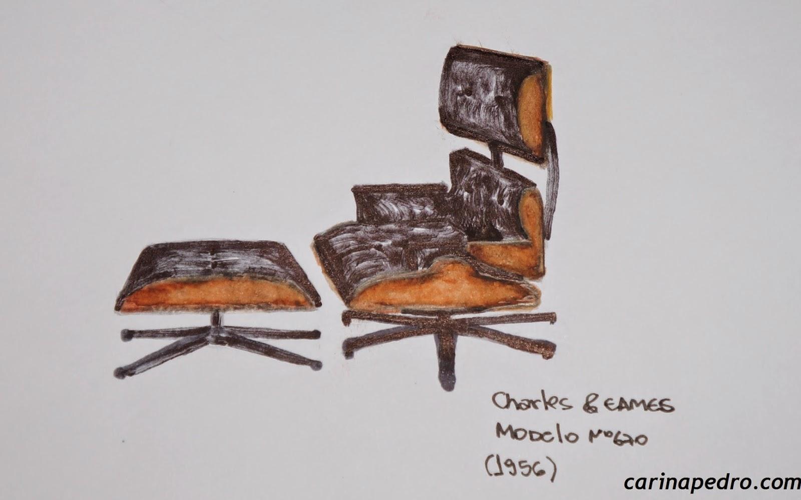 desenho à mão livre de Carina Pedro da poltrona Modelo no. 670 de Charles & Eames