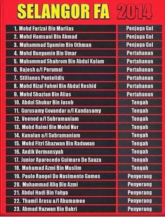 senarai pemain Selangor FA untuk Musim 2014. Untuk JDT pula di SINI