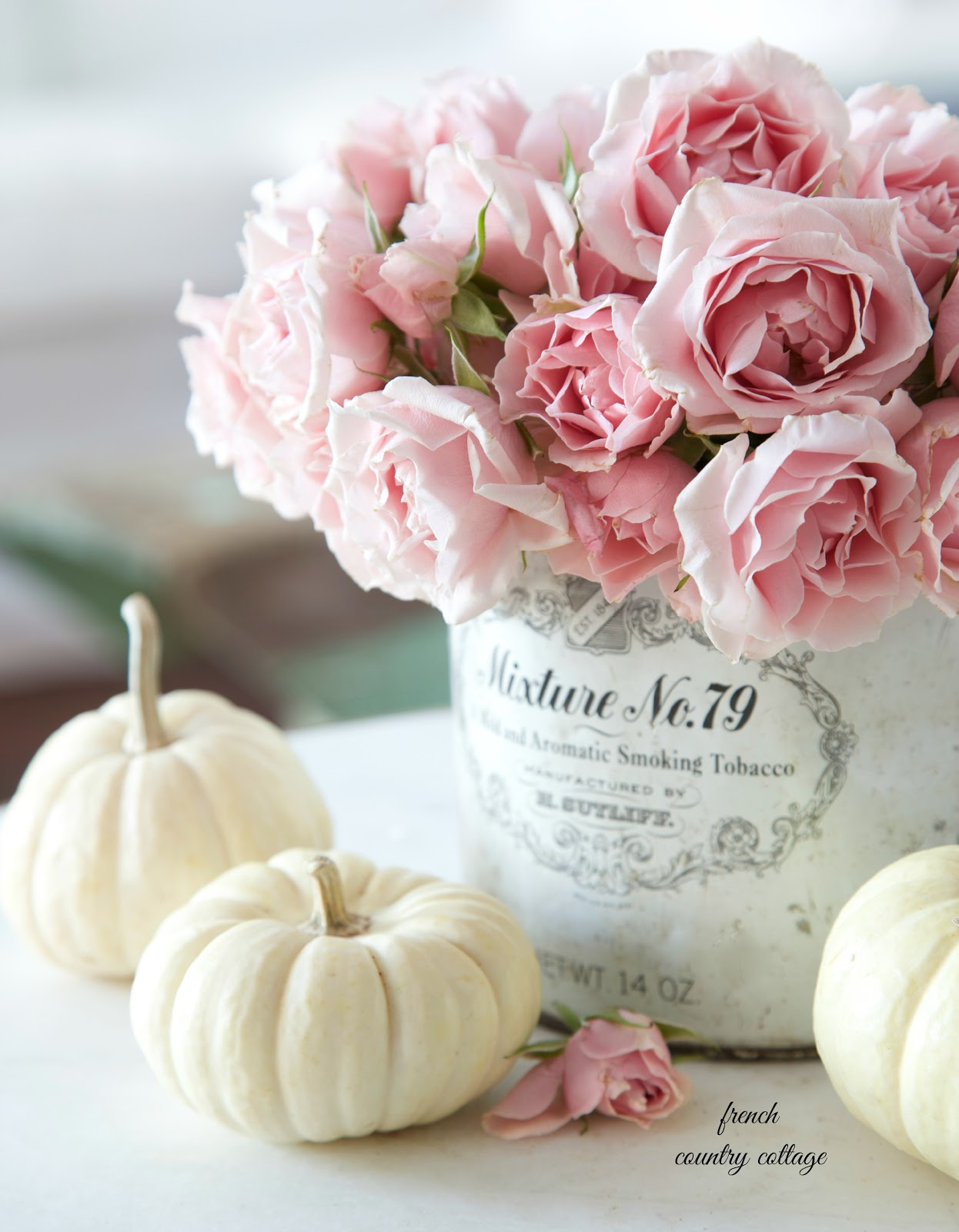 5 minute decorating baby pumpkin vignettes french for Decoration avec des roses