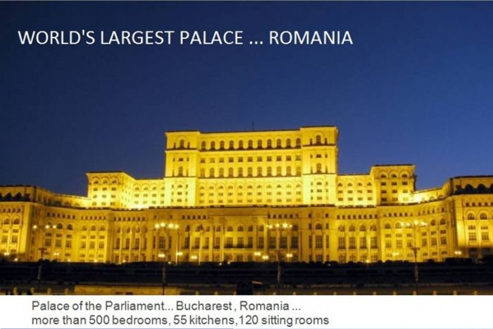Romania has the world's largest palace. The Palace of Parliament at Bucharest has more than 500 bedrooms 55 kitchens and 120 sitting rooms., world records, largest palace
