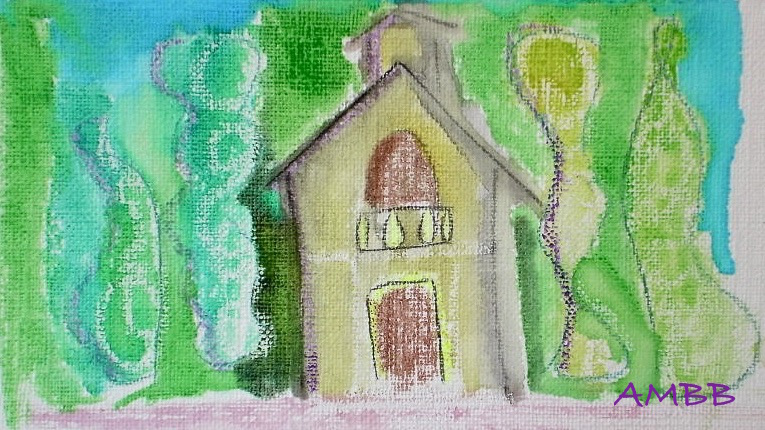 """""""The chapel"""" acrylic and pencil"""