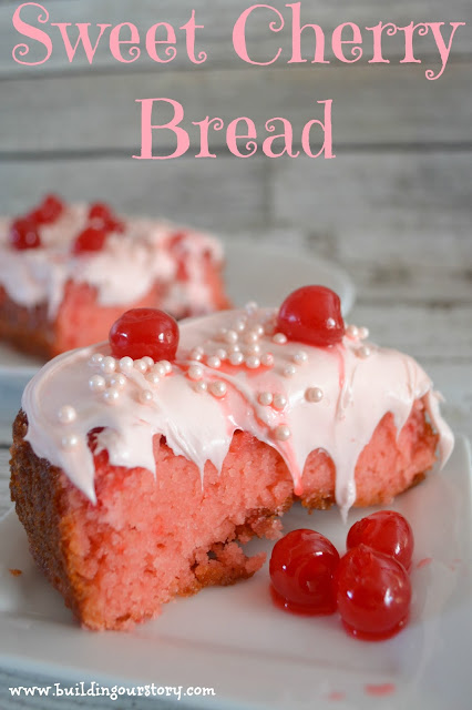 Sweet Cherry Bread Recipe, cherry bread, cherry cake, valentines day desserts, valentines day cake, valentines day cherry cake, valentines day cherry bread, classic cherry bread, easy bread recipe, dessert bread