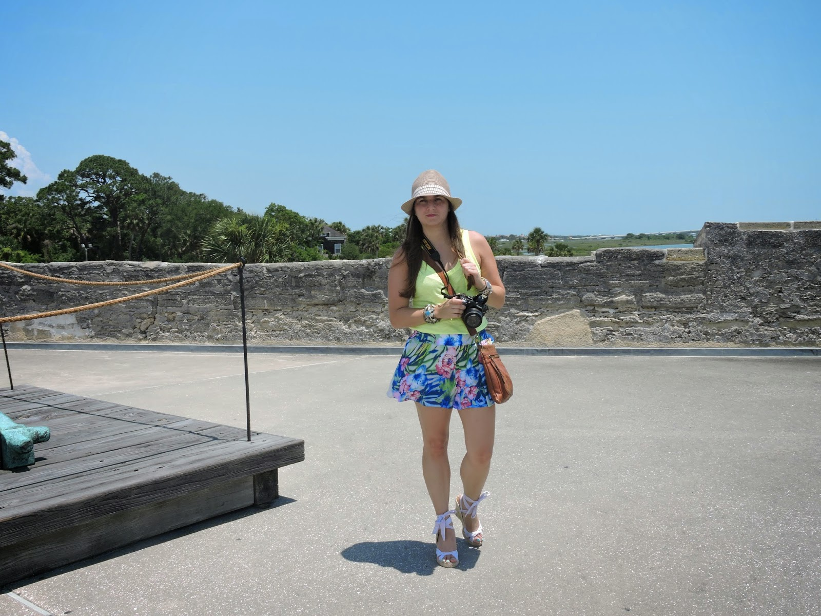 floral shorts - neon top - hat - espadrilles