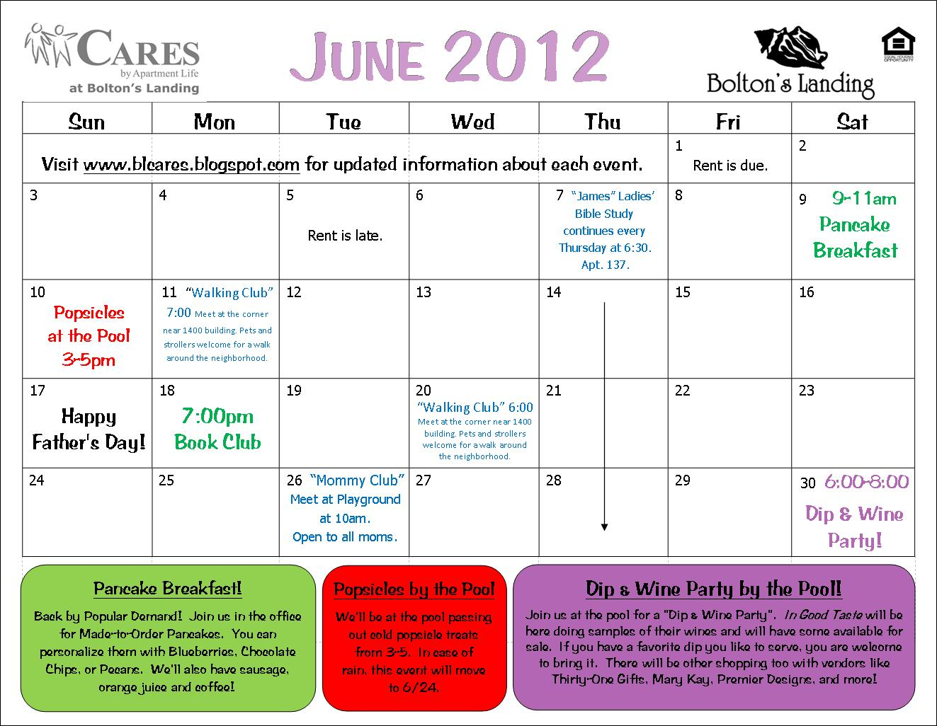 June Calendar Events : Bolton s landing cares